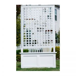 "40""W x 50""H Horizontal Lattice Trellis on a 40""W x 18""W x 18""H Flat Panel Planter"
