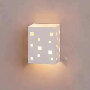 """6.5"""" Block Sconce w/ Scattered Geometric Cut Outs"""