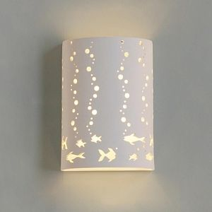 "7""  Cylinder Sconce w/ Fish & Bubble Cut Outs"