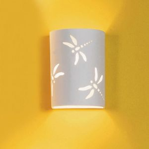 "7"" Dragonfly Themed Ceramic Wall Sconce"