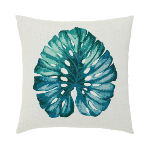 "Lichen Leaf Blue Lagoon Pillow, 22""x22"""