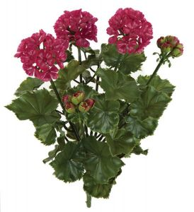17in. Artificial Geranium Bush - Wine Red