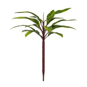 Outdoor Rated Artificial Cordyline Bush w/ Green Leaves and Red Stem