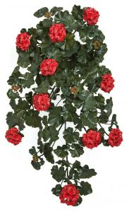 Artificial Hanging Geranium Bush with Red Flowers - 35 inches