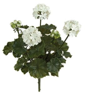 16in. Outdoor Artificial Geranium Bush - White