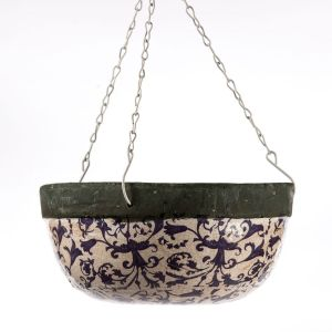 Blue and White Ceramic Hanging Basket Planter