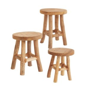 Teak Wood Cobble Stool