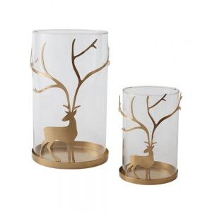 Reindeer Glass Candleholder with Gold Accent