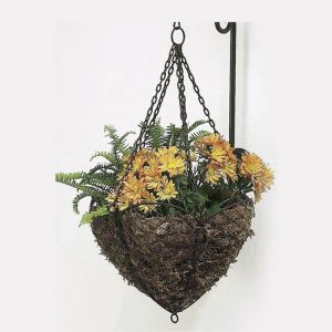 Antique Bronze Colored Scalloped Edge French Wire Hanging Basket With Vertical Wall Bracket (Coco Liner NOT included)