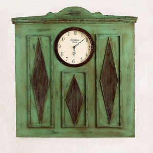 Antiqued Blue Wall Decor with Decorative Clock