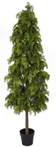 """Artificial """"Natural Touch"""" Potted Hinoki Cypress Tree - 6' or 7' Tall"""