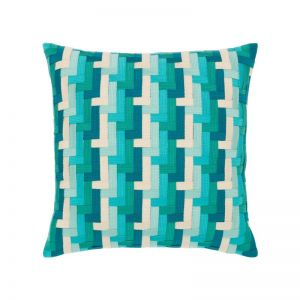 Aqua Basketweave Outdoor Rated Throw Pillow