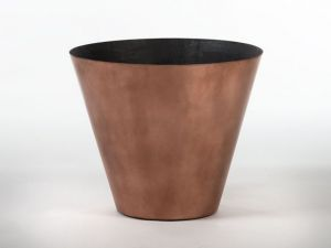 16 inch Tall Tapered Round ArmoreCoat Copper Planter