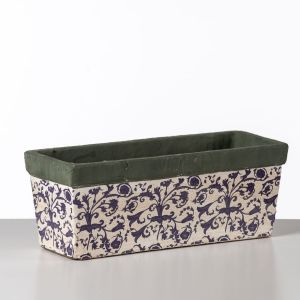 Blue and White Ceramic Trough Planter