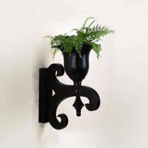 14in. x 20in. Black Urn Wall Sconce and Planter