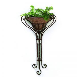 Bronze Colored Iron Wall Planter With Removable Liner