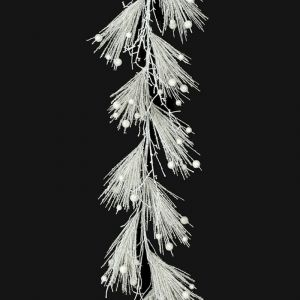 Artificial Glittered White PVC Pine and Ball Garland