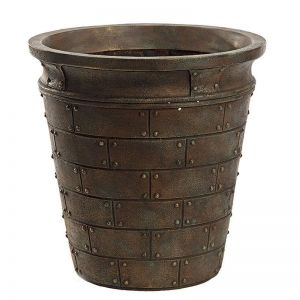 Cannon Fiberglass Tapered Round Planter - Weathered Bronze -Choose from 2 Sizes