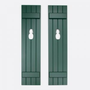 "Cedar Board and Batten Shutters -12"" Wide with 4 Boards and Cut-Out Design"