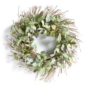 """24"""" Artificial Lamb's Ear, Willow and Thistle Wreath"""