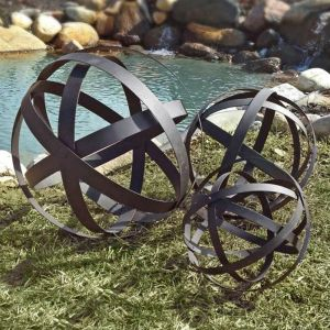 Dark Brown Metal Garden Spheres, Set of 3