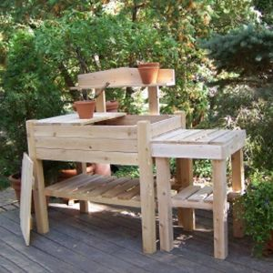 Two Piece Cedar Potting Bench w/ Side Table