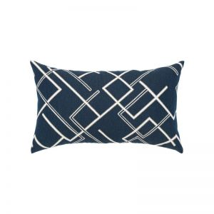 Divergence Indigo Outdoor Rated Lumbar Pillow with Faux Down Fill