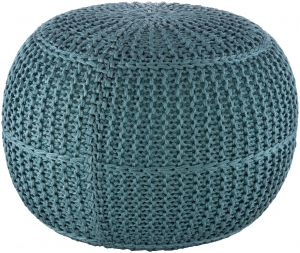 Dita Braided Outdoor Pouf - Aqua
