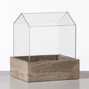 11 inch Tall Tabletop Greenhouse Terrarium w/ Concrete Base