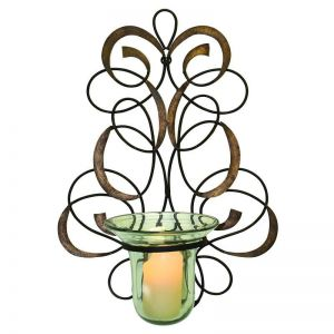 Elegant Scroll Wall Hurricane Candle Holder