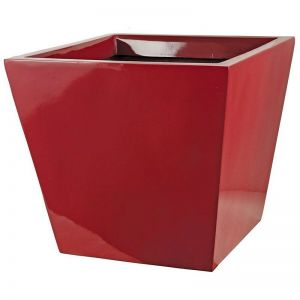 16 inch Tall Sabin Fiberglass Tapered Square Planter - Glossy Red