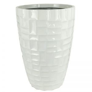 31 inch Tall Fiorello Fiberglass Tapered Round Planter - Glossy White