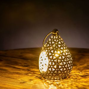Floral Decorative Tear Drop Lantern with Antique Finish