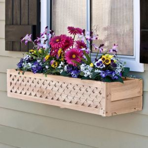 Lattice Cedar Wood Window Box