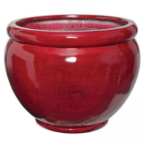 Lohan Fiberglass Tapered Round Planter - Red/Black -Choose from 2 Sizes