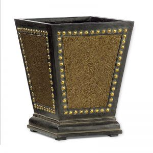 14 inch Tall Lois Fiberglass Square Planter - Brown and Gold