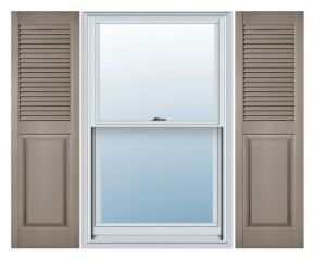 14 1/2in. Wide Straight Top - Vinyl Combination Louvered over Panel Exterior Shutters (Custom Product) - Pair