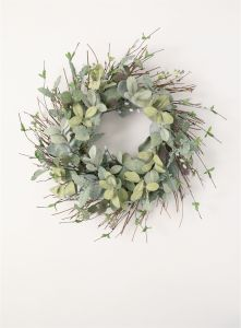"24"" Artificial Lamb's Ear, Willow and Thistle Wreath"
