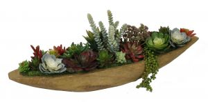 Artificial Succulent Plants in Wood Boat Planter