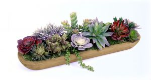 Artificial Succulent Plants in Wood Tray