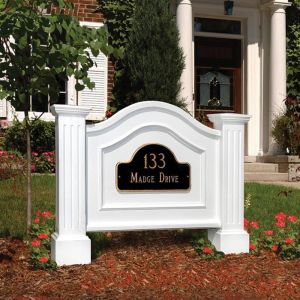 Northwood Double Post and Panel Address Sign - White