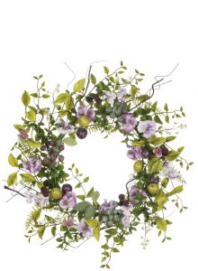 "24"" Artificial Pansy Berry Wreath"