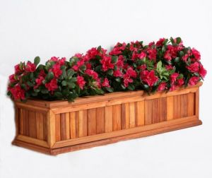 Redwood Framed Slatted Flower Boxes