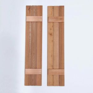 Rough Sawn Cedar Board and Batten Shutter Pair - 12in. W