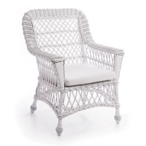 Montauk White Wicker Arm Chair