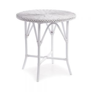 """Normandy White Wicker Cafe Table - 30"""" Tall"""