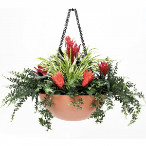 "21"" Fiberglass Hanging Basket with Artificial Tropical Plants"
