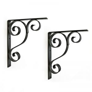 "Scroll Strap Window Box Bracket 8 1/2"" Shelf  (Pair)"