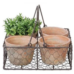 Set of 4 Rustic Pots in Square Wire Basket with handle