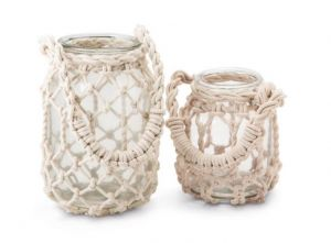 Set of Two Macrame Rope Lanterns with Handle